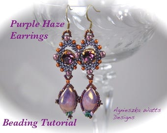"Beading tutorial ""Purple Haze"" earring instant download PDF file beadweaving"