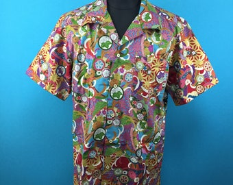 Cotton Kimono Hawaiian shirt, mix colors, Men, US size L
