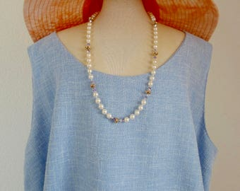 2.140.0004 Long real fresh water pearl necklace with swarovski crystals