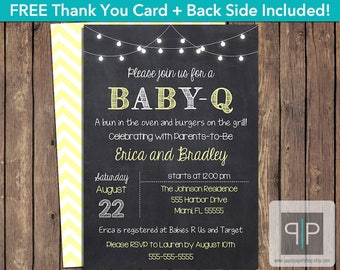 INSTANT DOWNLOAD Gender Neutral Baby-Q Invitation, Editable Baby-Q Invitation, Printable BabyQ Invitation, Yellow BabyQ Invitation, P10