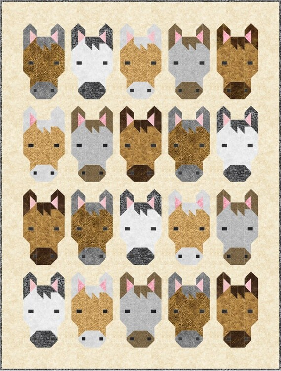 Diy Horses Quilt Kit And Pattern Bedding Crib Blanket Quilting