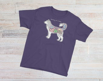 YOUTH TEE - Anatomy of a Husky - Funny Siberian Husky Dog Shirt - Youth Short Sleeve T-Shirt