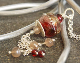 Red and Gold Glass and Gemstone Handmade Cluster Necklace. Artisan Jewelry. Luxe Gemstone Jewelry