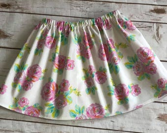 Girls Handmade Roses Skirt - Pink Skirt - Watercolor Roses - 100% Cotton Skirt - Newborn to 10/12 girls - Floral Skirt