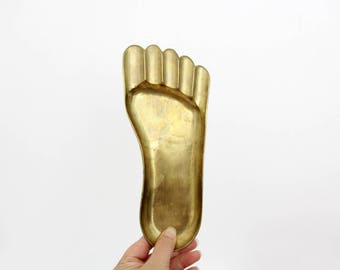 Vintage Brass Foot Shaped Tray // Whimsical Catchall