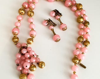 Pink Moonglow Lucite Bead Necklace with Earrings, Vintage Jewelry SALE
