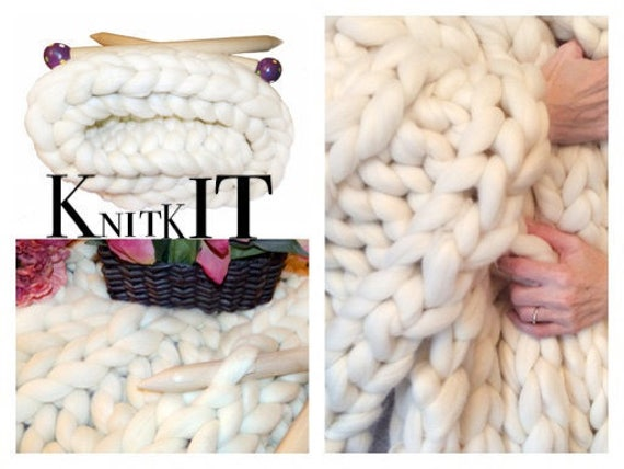 "Knit Kit, Super Chunky Yarn..Large Blanket Kit! DIY Chunky Blanket ! 24"" Giant Needles, 8# SMOOSH Yarn, Tutorial, Patterns, Giant Needles"
