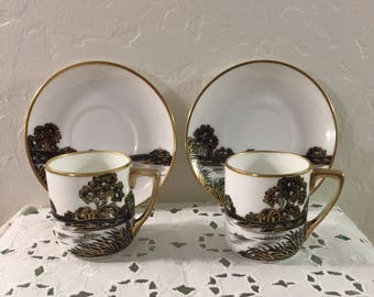 1920s Nippon Hand Painted Black and Gold Demitasse Cups Saucers