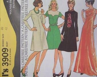 UNCUT Vintage 1970s McCall's 3909 KEYHOLE Dress Pattern size 20  Bust 42