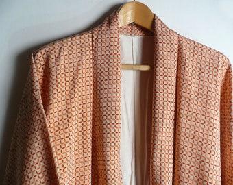 "Japanese vintage kimono - silk - ""shichiho tsunagi (seven treasure chain)"" pattern - orange - WhatsForPudding #1975"