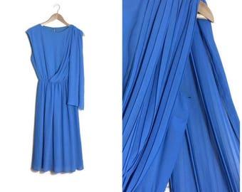 Blue vintage Grecian dress / floaty blue midi dress / boho blue midi dress / pleated blue Grecian dress / wedding guest dress