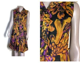 vintage floaty dress // boho skater dress // mid length dress // floaty garden party dress // orange purple sun dress // dress for spring