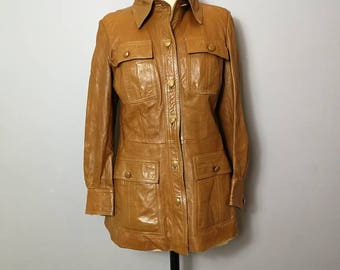 70s brown leather jacket / retro women's leather coat / mid length button up leather coat