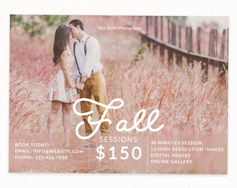 Fall Marketing Board, Fall Mini Session Digital Marketing Template for Photographers, Fall Minis, Fall Photoshop Template, m154