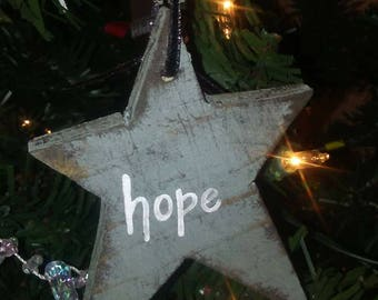 Primitive hand painted Christmas star ornaments