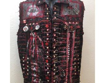 Red Doom Denim vest by Chad Cherry