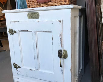 white clad icebox side table painted lightly distressed white