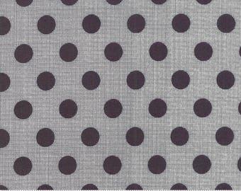 Jen Kingwell Circulus Tiny Plaid Polka Dot Charcoal Grey Fabric 18131-26 BTY