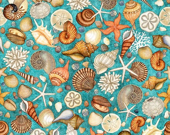 Quilting Treasures Ocean Oasis Teal Blue Shell Starfish Shells Fabric BTY 1 Yd