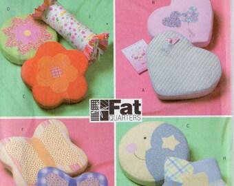NOVELTY PILLOWS Butterick Fat Quarters Pattern 4206 Flowers Hearts Butterfly Star & More