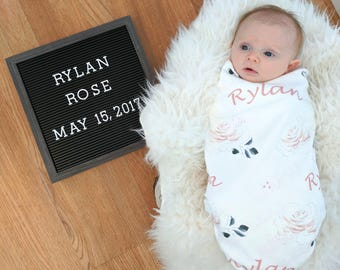 Personalized girl watercolor swaddle blanket: baby and toddler personalized name newborn hospital gift baby shower gift