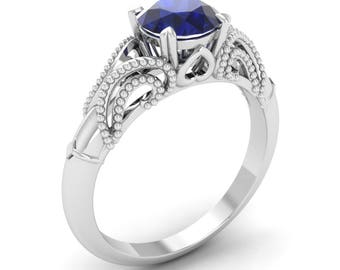 Certified 1.3 Cts Sapphire  | Natural Blue Sapphire Engagement Ring 14K White Gold | Solitaire Engagement Ring |Certified Blue Sapphire Ring