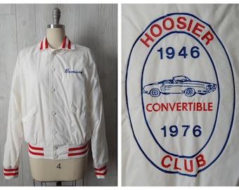 "Women's Vintage 70s ""Berniece"" White Athletic Hoosier Convertible Car Club 1946 1976 Windbreaker Jacket // Size Small"