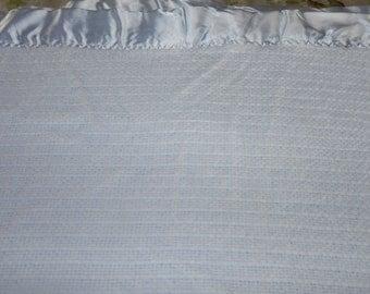 """Blue OR Yellow Waffle Weave Acrylic Blanket Satin Binding 86""""x 65"""""""