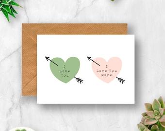 I Love You More Arrow Hearts Card, Love Card, Anniversary Card, Valentine's Card, Husband Card, Wife Card, Girlfriend Card, Boyfriend Card