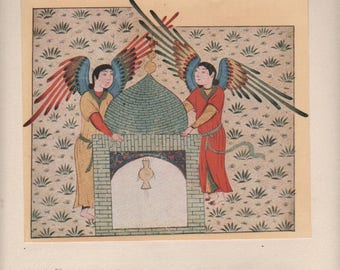 Vintage  lithograph oriental ... Angels