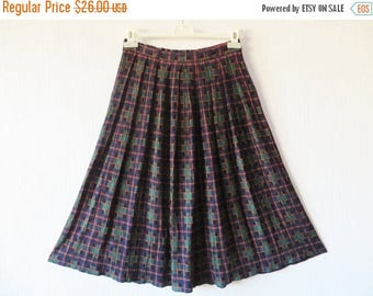 CIJ SALE Blue Green Tartan Plaid Skirt Crinkled Pleated Elastic Waist Skirt Made in UK Medium Size