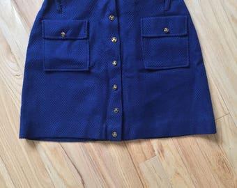 70's Vintage A-Lined Blue Skirt