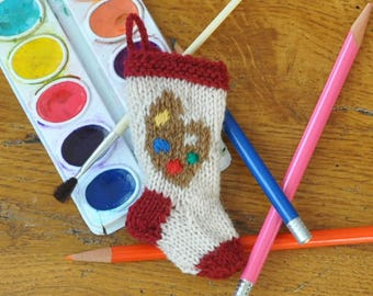 Artist's Palette Hand-Knit Christmas Stocking Ornament