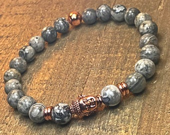 Men's buddha bracelet, mens bracelet, beaded bracelet, stretch bracelet, jewelry, gifts for him, stackable bracelet, yoga jewelry