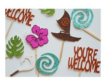 Moana Birthday Party Decoration ; Moana Cupcake Toppers ; Disney Princess Birthday Party ; Moana Party Decor ; Moana Party Decorations