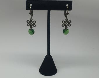 Celtic knot earrings with Swarovski crystal hearts (Fern Green)