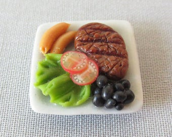 Miniature handcrafted flat full (steak/salad) plate square 20mm