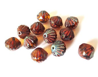 4 9mm Transparent Topaz/Picasso Baroque Czech glass beads