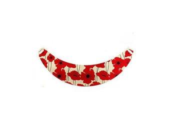 Bib metal red poppy flowers pattern