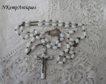 Vintage glass rosary white