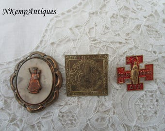 Old religious brooch x 3