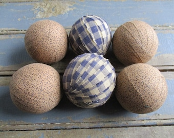 Rag Balls  Primitive Navy Blue and Tea Dye Checked and Floral Print 2.5 Inch Set of 6 Fabric Balls