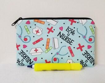 Nurse Zipper Pouch, Nurses Pencil Case, First Aid Kit Bag, Nurses Gadget Pouch, Nurse Pouch, Gift for Nurses, Nurse Gadget Bag, Nylon Liner.