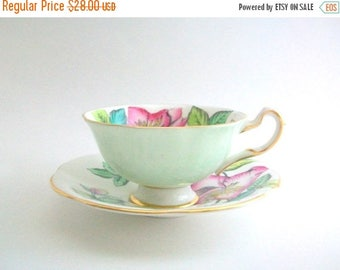 CLEARANCE Vintage Teacup, Green Teacup Set, Mint Green Teacup, Mint Teacup, Floral Teacup, Floral Teacup Set, Flower Print Teacup, Pink & Gr