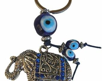 Energized/Enchanted Elephant Totem Evil Eye Keychain