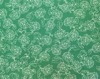 Green fabric by the yard - green floral fabric - green flower fabric - green and white floral fabric - Hawaiian fabric