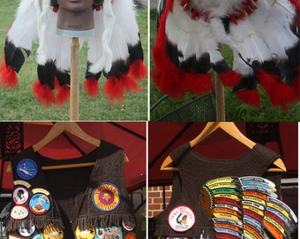 Vintage OOAK YMCA Y Indian Guide ceremonial headdress and brag vest.