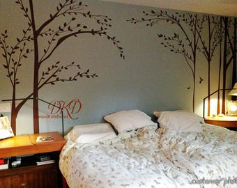 Vinyl wall decals nursery wall sticker Living room Home decor-Forest Tree with flying birds wall decal-DK299