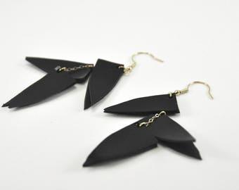 Statement black earrings, Leather earring, Dangle earring, Statement earring, Glam gift for her, boho jewelry, BDSM jewelry, Long earrings