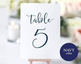 Table Numbers Printable, Navy Wedding Table Numbers, Table Number Template, Wedding Printable, DIY Table Numbers, PDF Instant Download